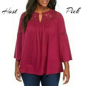 Crown & Ivy Women's Blouse Pink Plus Size 1X 2X 3X